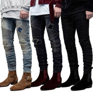 Slim Fit Байкер Джинсы мужские Разорванные задрапированные Дизайнерские Дырки Карандаш Жан штаны Pantalones Street Style