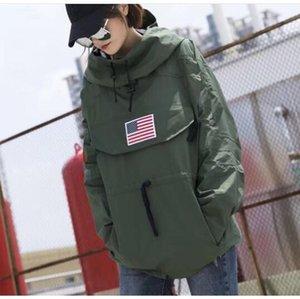 rivestimento degli uomini europei americani di marca di marea di moda incappucciato nuova strada hip hop bandiera americana uomini cappotto giacca