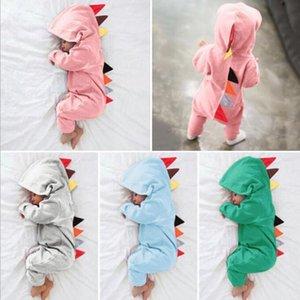 Baby rompers Dinosaur Meninos Jumpsuits Crianças roupas de grife infantil Autumn manga comprida Bodysuits Algodão Onesie Macacões Suba Roupa C6679