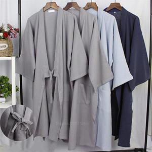 Adulto estilo japonês tradicional Kiimoono Pijama Sólidos Algodão Pijamas por Mulheres Homens Haori Yukata Banho lar Roupa