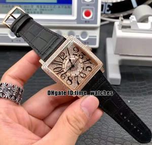 Новый Master Square Diamond Рамка / Циферблат 6002 M QZ V D CD Автоматические Мужские часы Корпус из розового золота с кожаным ремешком 40 мм Мужские часы