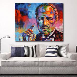 HDARTISAN Şekil Renkli Godfather Modern Kanvas Sanat Duvar Resimleri İçin Salon Ev Dekorasyonu T191202 Baskı Boyama