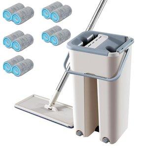 Magie Reinigung Schrubber Free Hand Spin Reinigung Mikrofaser-Mop mit Eimer Flach Squeeze Spray Mop Home Küchenboden reinigen Werkzeuge