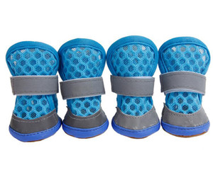 Summer Dog Shoes With Two Reflective Fastening Strap and Rugged Anti-Slip Sole Dog Boots Colorful Pet Soft Shoes 7 Colors