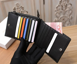 Горячие продажи моды на одной молнии дешевый кошелек дизайнер кожаный кошелек Короткие мужчины роскошный кошелек Классический стиль женщины карты пакет большая коллекция