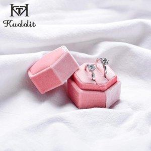 doppio anello scatola rosa anello del velluto Kuololit 2pcs / lot esagonale per le donne Handmade 2 contenitori di monili di aggancio di cerimonia nuziale nuziale