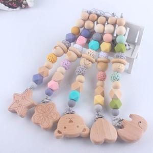 Neu eingetroffen Holz Dentitionschätzchen Schnullerhalter Clips Pacifier Baby Baby Pacifier Clip Kette Schnullerhalter Clip Nippel Beißring
