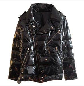 La patente de cuero brillante caliente mujeres de la chaqueta del abrigo esquimal de las mujeres Negro cremallera rompevientos Escudo 2019 de invierno brillante de Down Parka Para Wome