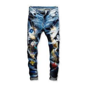 Neuen Männer farbige Patchwork zerrissene Jeans Trendy Mode Patch Design Stickerei Stretch-Denim-Hosen nehmen gerade Hose