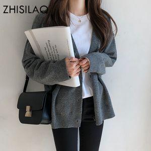 ZHISILAO Solide Sweater Cardigan Feminino Cashmere Frau Poncho Female Mantel weiche Strickjacke Gelegenheits Pull Femme Oberbekleidung
