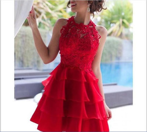 Red Organza Mini Short Homecoming Dresses 2018 Sexy Illusion Jewel Applique Lace Cocktail Party Gowns Knee Length Simple Cheap Prom Dress