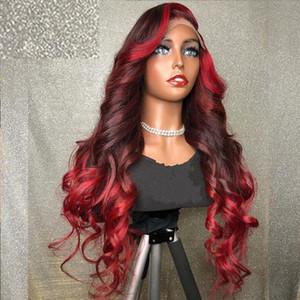 Bourgogne 99J avant de dentelle perruque rouge perruque couleur Highlight Ombre du corps humain Cheveux vague Lace Front perruques de cheveux humains du Brésil