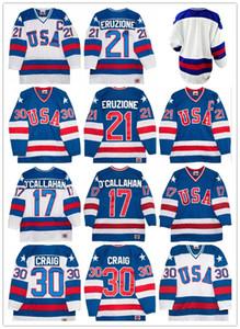 1980 팀 USA 하키 유니폼 30 짐 크레이그 21 Mike Eruzione 17 Jack O'Callahan 1980 년 Miracle USA 빈티지 하키 유니폼 White Blue S-3XL
