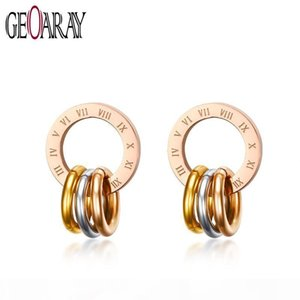 Geoaray Fashion Unique Round Stud Earrings for Women Men Engraved Roman Number Rose Gold Stainless Steel Earring Colorful 3 Roun