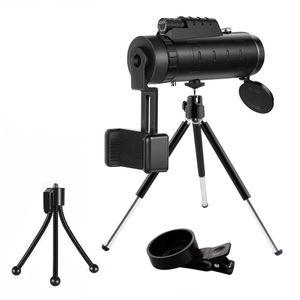 40X60 Zoom Optical HD Lens Monocular Telescope+ Tripod+ Clip For Universal Phone Spotting Scope Zoom Telescope Waterproof