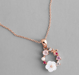 DHL Fashion Creative Butterfly Flowers Necklace Zircon Crystal Pearl Shell Garland Pendant Necklace for Women Jewelry length 45 cm