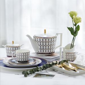 Européenne Accueil Bone China Teapot Café Sucrier Pot à lait Pot Restaurant Céramique Afternoon Tea Cup Saucer
