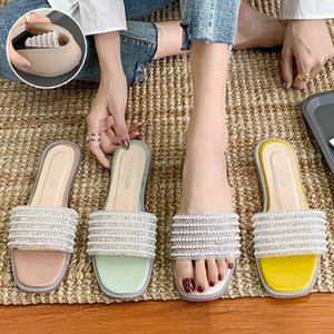 String Bead Flat Shoes Female Summer Woman Slippers Casual Slides Slipers Women Soft Beach Luxury 2020 PU Basic Rubber