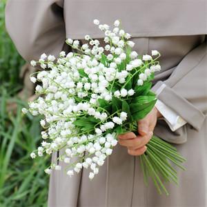 Artificial flor de la orquídea lirio de los valles del valle flor de la simulación de plástico para la boda del lirio Inicio escaparate decorativo Flores