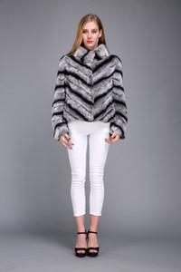 dame femmes réelle veste couleur chinchilla fourrure de lapin manteau court rex outwear chaud hiver en peluche moelleux