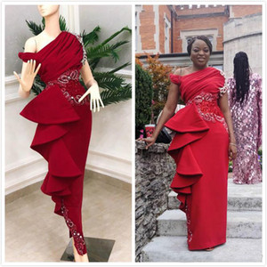 Rosso Elegante abiti da sera una spalla Cristalli rilievo Prom Dresses Black Girl Guaina partito convenzionale dalla damigella d'onore