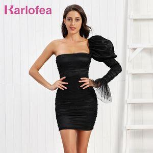 Karlofea Elegant Dress Women Stylish One Long Sleeve Clubwear Sexy Satin Ruched Mini Dress Wedding Celebrity Party Outfits
