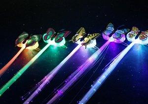 Fibre di trasporto farfalla LED Optic Lampeggiante Capelli Flash Barrettes trecce clip accessori per la festa di Natale