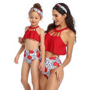 Ruffle High Waist-Badeanzug Kinder-Bikini-Satz Mutter und Tochter Swim Tuch 2020 Frauen-Mädchen-Zweiteiler Bademode Badeanzug für