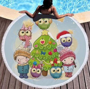 Cartoon Christmas Pattern Printed Round Beach Towel With Tassels Microfiber 150cm Summer Swimming Picnic Mat Tapestry Travel Blanket H315