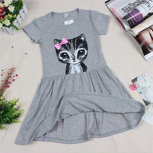 Kleinkind-Kind-Mädchen-Katzen-Sommer-Prinzessin Short Sleeve durchbohrten Partei-Kleid Alter 2-7Y