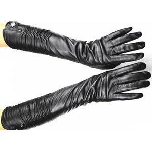 women Long Sheepskin fashion Gloves Female Leather Over Elbow Length Elastic Style Velvet Lining Warm Free Shipping