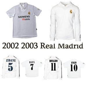 2001 2002 2003 Gerçek Madrid Cententary Ev Futbol Jersey Zidane Figo Hierro Ronaldo Raul Klasik Retro Futbol Gömlek Vintage Jersey