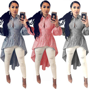 women sexy fashion striped irregular dress hem high low turn-down neck long sleeve high waist maxi blouses shirts 3 Colors S-3XL