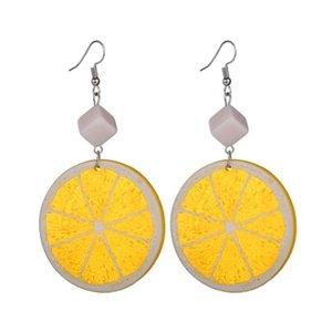 New Fashion Night Club Acrílico Fruit Lemon Brincos Para As Mulheres Presente Feminino Declaração de Jóias Estilo Verão E2801