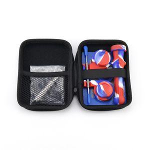 Collecteur de silicone NC Kit Set avec Titanium Dabber Tool Tool Silicon Porte-bouchon Silicon Conteneur de cire Case Zipper Concentré DHL