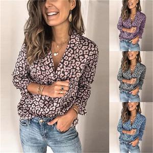 Женщин С Длинными Рукавами Футболки Леопарда Печатных Костюм Осень Случайные Свободные Рубашки Шеи Мода Футболки
