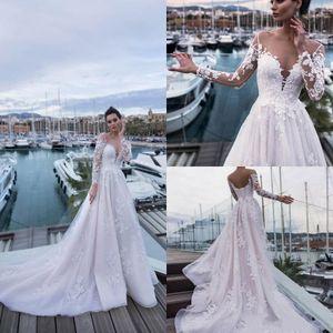 Nora Naviano 2019 Yeni Sahil Gelinlik Uzun Kollu Dantel Aplikler Sweep Tren Boho Gelin Törenlerinde Artı Boyutu robe de mariée