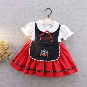 Bebek Kız Kuş Nakış Parti Elbise 2020 Yeni Çocuklar Yaylar Yaka Puf Kısa Kollu Prenses Elbise Çocuk Günü Performans Giyim A2526
