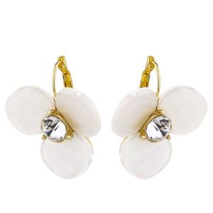 Mode der neuen Frauen Disco Ohrstecker Weiße Schale mit Diamanten Kristall Ohrringe für Damen Großhandel Clip-on Schraube wieder