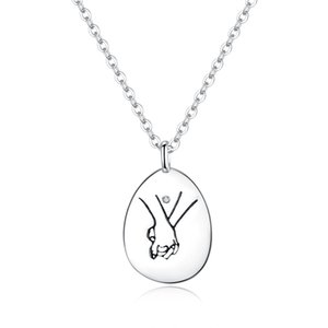 Romantic Love Confession Couple Hand in Hand Pendant Necklace Real Pure 925 Silver Chain For Beauty Women Fine Jewelry Family Birthday Gift