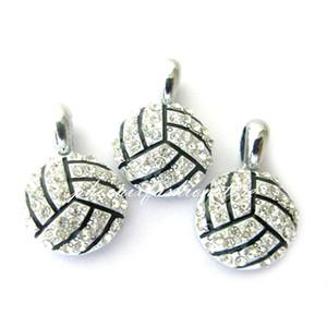 Accessori della collana di sconto caldo di modo fai da te Cristallo Pallavolo fascino del pendente per i monili del braccialetto Sport fascino 15 * 15mm