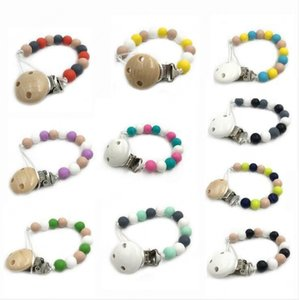 Baby Teether Molar Chain Infant Natural Wooden Teethers Newborn Fingers Exercise Toys Colorful Silicon Beaded Soother Chains
