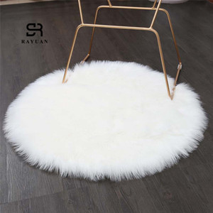 RAYUAN redondo blanco de piel de oveja Hairy Alfombra Faux tapiz de asiento del cojín de piel normal mullido suave manta de área de Tapetes 30-140cm