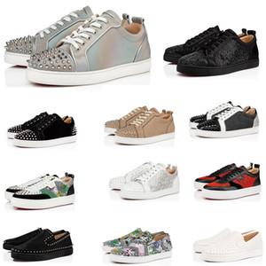 2020 populares de lujo de zapatos casuales Red Shoe Bottom Marca Rivet Studs planas zapatos del diseñador de moda ACE zapatilla de deporte par partido de cuero de alta botas
