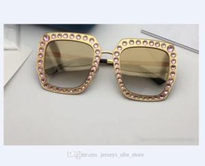 Gafas de sol mujeres del diseño 0115 Capítulo cuadrado de metal mosaico cristal brillante colorido de calidad superior del diamante UV400 lente viene con la caja original