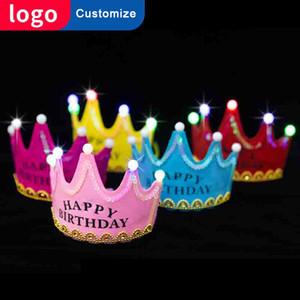 Happy Birthday Tiara Crown per le donne Hairband Kids Girls Sweet 18th Birthday Party Accessori Decorazioni Baby Korona Crown Led