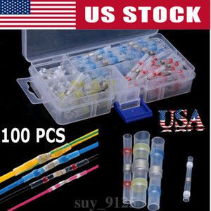 100pcs Waterproof Solder Heat Shrink Tube Solder Sleeve Tubing Wires Connectors Cable Splice Line to Line Connector