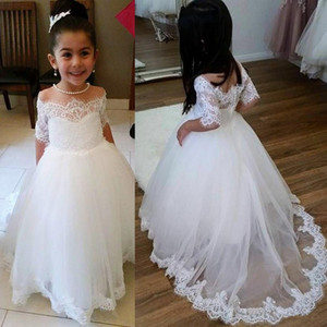 Flower Girl Dresses for Wedding Off the Shoulder Lace Tulle First Communion Dresses For Girl Half Sleeve Birthday Party Gowns