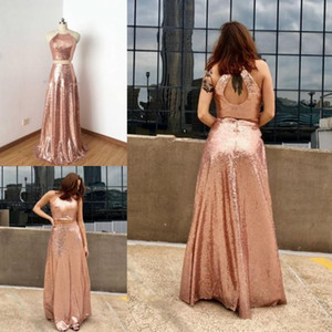 BridesmaidReal Images Sequined Bridesmaid Dresses Sheath Hollow Back Two Pieces Dresses Wedding Wear Rose Gold Maid Of The Honor Gowns Cheap