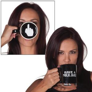 Creativos tienen un dedo Nice Day cerámica taza de café 301-400ml Medio Copa divertido Milk Tea regalos taza para beber DHE164